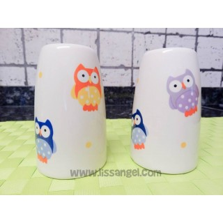 Salt and Pepper Shaker Colorful Owls
