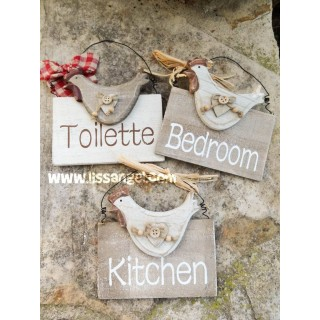 Wood Rustic Signs with Chickens (Kitchen, Bedroom and Toilette)