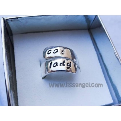 "Anillo ajustable gatos ""Cat Lady"""