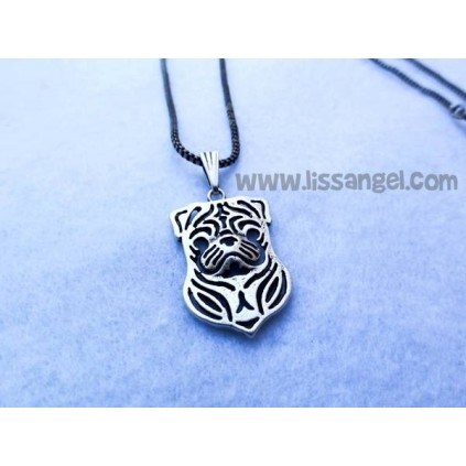 Pug / Carlino Dog Silvered Pendant Necklace