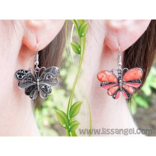 Butterfly Earrings with Flowers