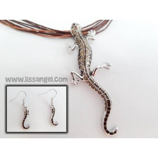 Lizard Pendant with Lizard Tails Earrings