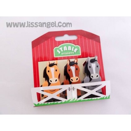 Three Horses Stable Erasers Pack