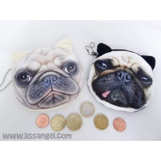 Monederos suaves Perros Carlino / Pug