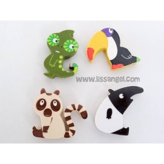 Funny Jungle Animals Four Pack Erasers