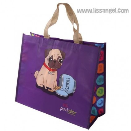 Drawn Pug Dog Shopping Bag