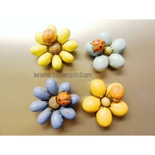 Colorful Flowers Magnets with Ladybugs (Unit)