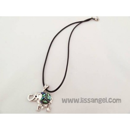 Elephant Pendant Necklace with Green Stones