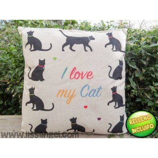 "Cat Cushion (43x43) ""Catlovers"" - I Love my cat"