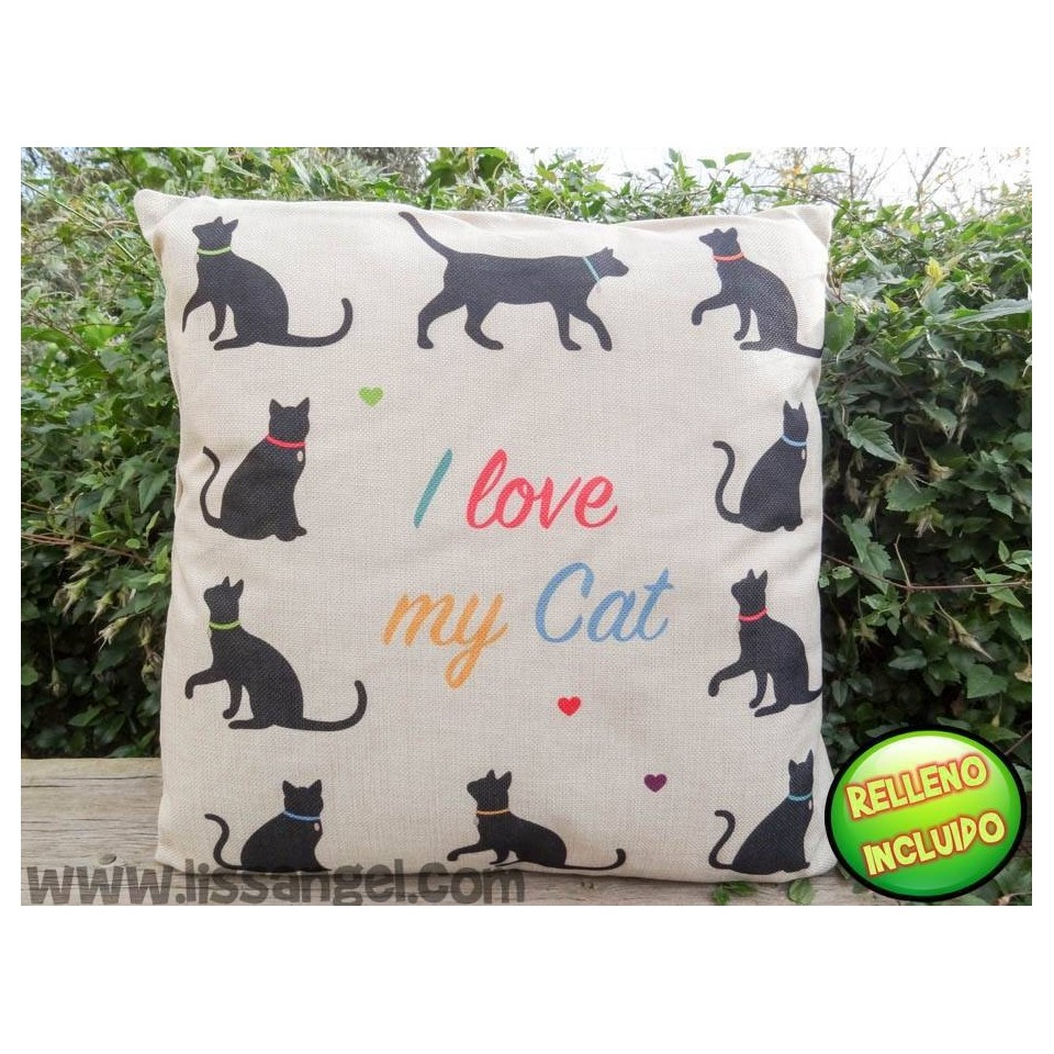 "Cojín 43x43 Gatos ""Catlovers"" - I Love my cat"