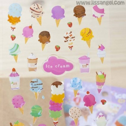 Ice Cream Embossed Kawaii Stickers