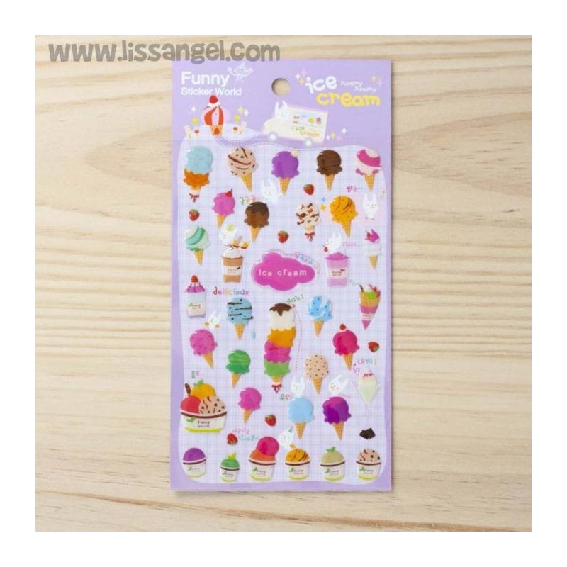 "Stickers ""Ice Cream"" - Pegatinas de helados en relieve"