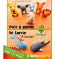 8 Pack - IWAKO Puzzle Animal Erasers