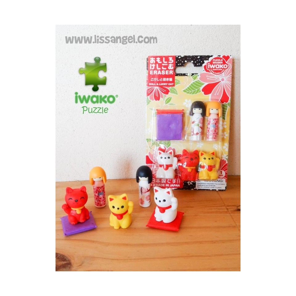 Kokeshi Dolls and Maneki Neko - Pack of 7 IWAKO Puzzle Erasers
