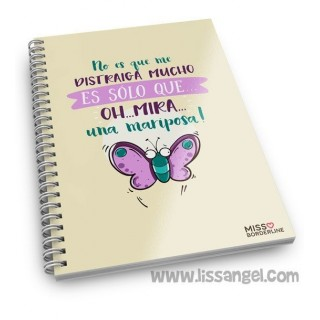 "Miss Borderlike Notebook (A5) ""It's not that I'm distracted a lot, it's just... Oh look, a butterfly"""