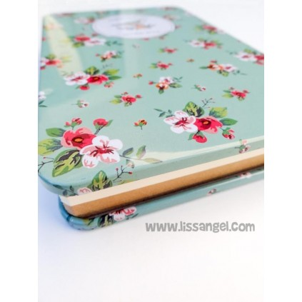 Vintage Metallic Notebook Flowers with Bird