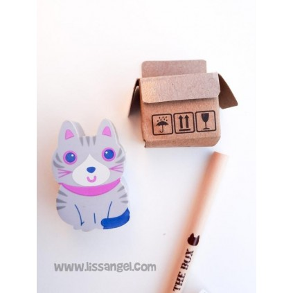 Kawaii Cat in a Box Pencil and Eraser