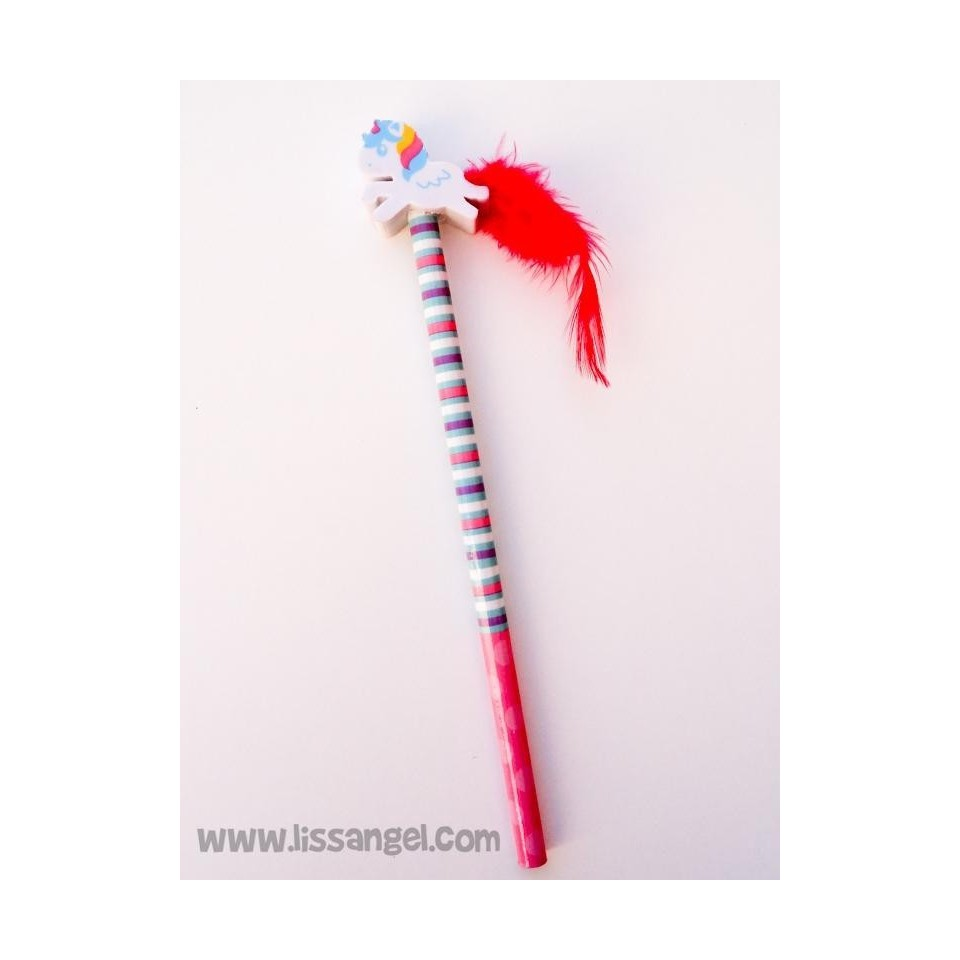 Unicorns with Feathers Pencils with Erasers