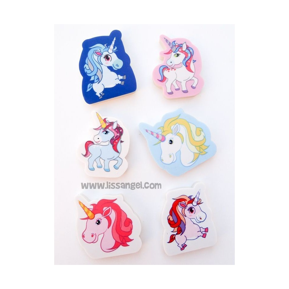 Pack 6 Unicorn Erasers