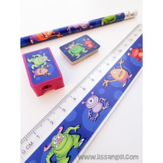 "Pack 4 Stationery Pieces ""Funny Monsters"""