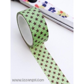 Green Washi Tape with Black Stars