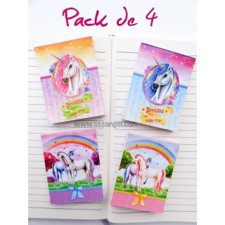 Pack 4 Unicorn Notebooks (A7)