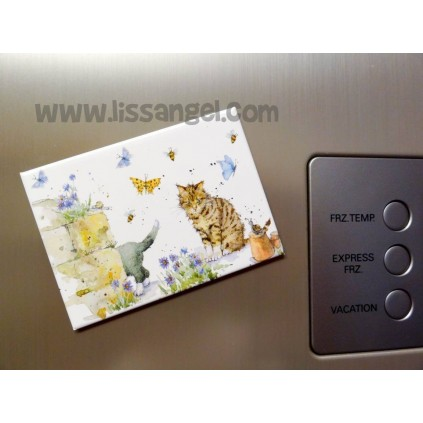 Magnet with Cats in garden design