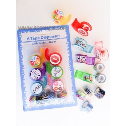 Pack 12 Mini Washi Tapes with Dispensers