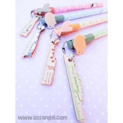 Kawaii Animals Pen with Mini Ruler