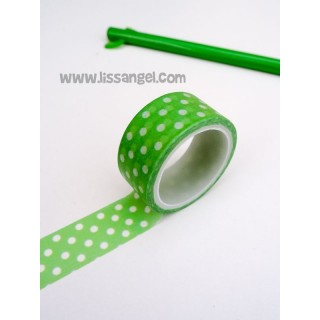 Green Washi Tape with White Polka Dots