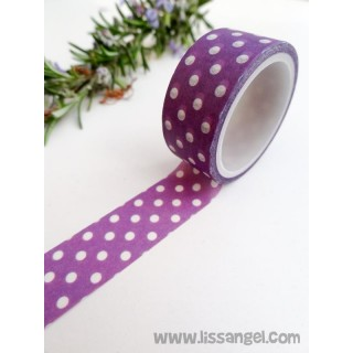 Purple Washi Tape with White Polka Dots