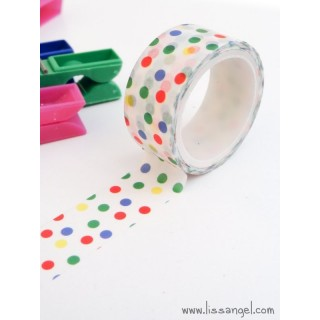 Washi Tape Blanco con Lunares de Colores