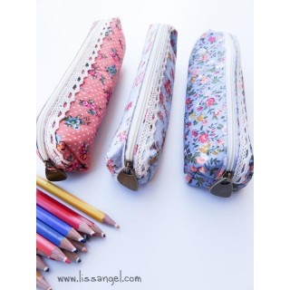 Floral Fabric Pencil Case with Embroidery