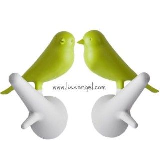 "2 Wall Hooks ""Hook Sparrow"" by Qualy"