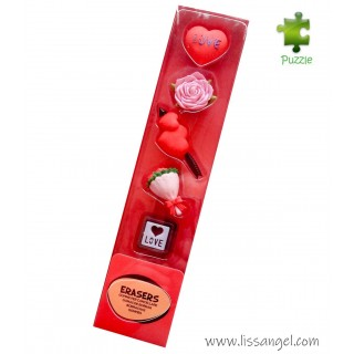 Love and Hearts Erasers Set - 5x Pack