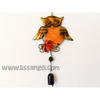 Golden Two Wings Owl Wind Chime