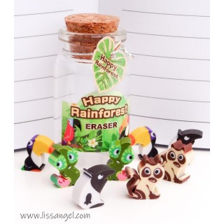 Bottle with Rainforest Animals Mini Erasers