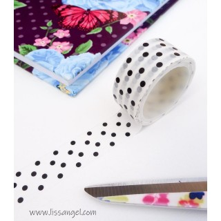 White Washi Tape with Black Dots
