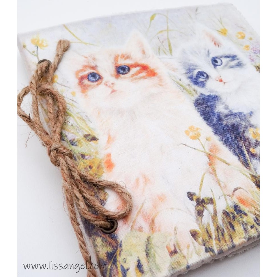 "Linen Notebook ""Cats in the Meadow"""