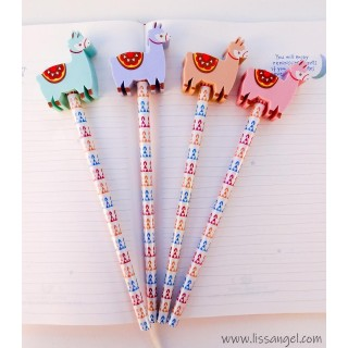 Funny Llamas Pencils with Erasers