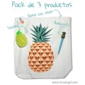 Pack Piña Tropical: Bolsa Tote Bag + Squishy + Bolígrafo