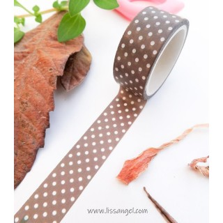 Brown Washi Tape with White Dots