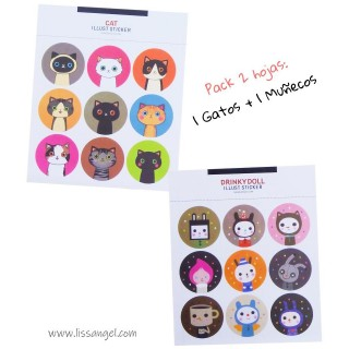 Pack 2 Sheets Cats + Dolls Stickers