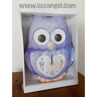 Reloj de pared animales Búho Colores