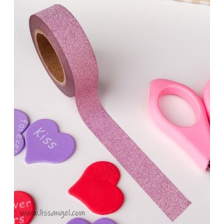 Washi Tape Rosa Claro con Purpurina