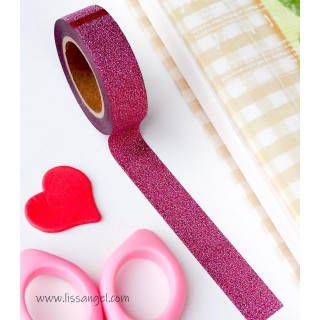 Washi Tape Rosa Oscuro con Purpurina