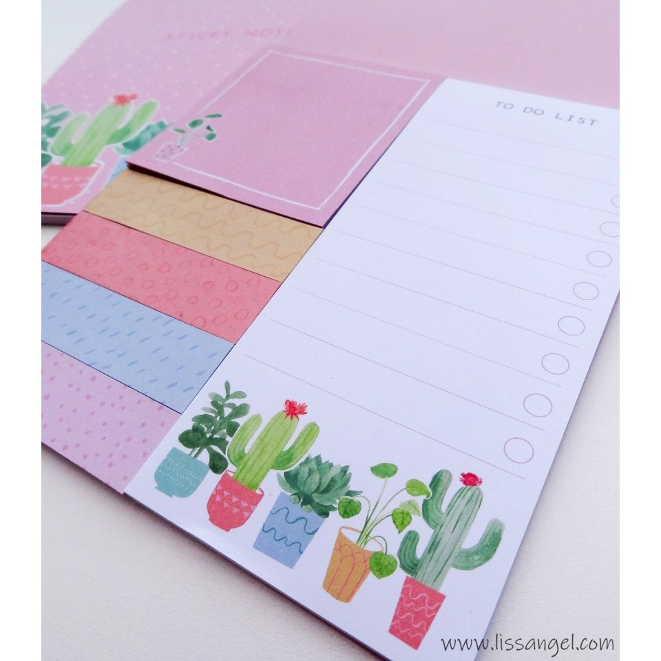 Beautiful Cactus Adhesive Notes Set