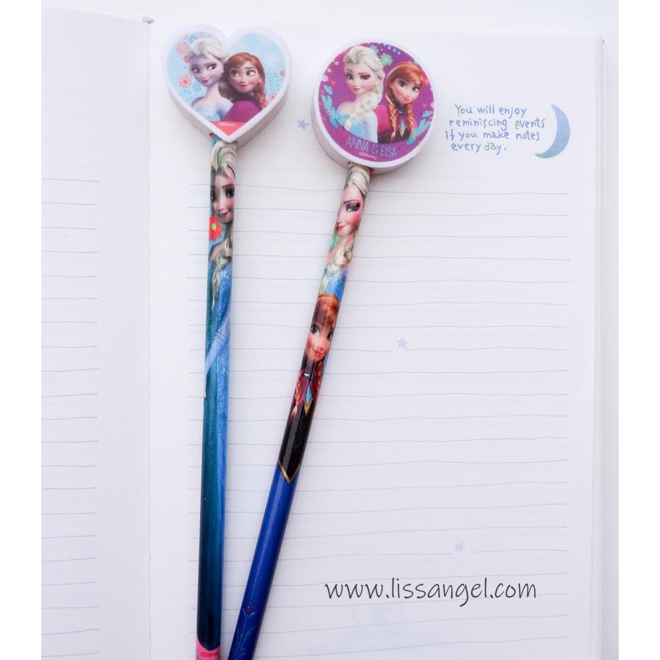 Set of 2 Frozen Pencils with Erasers (Disney)