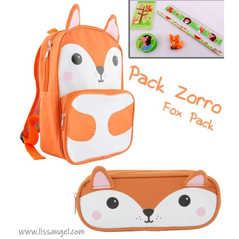 Fox Stationery Pack: Backpack + Pencil Case + 5 pieces