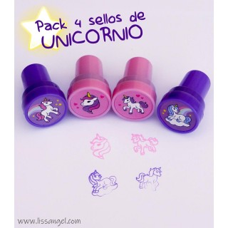 Pack 4 Sellos Scrapbooking Unicornios